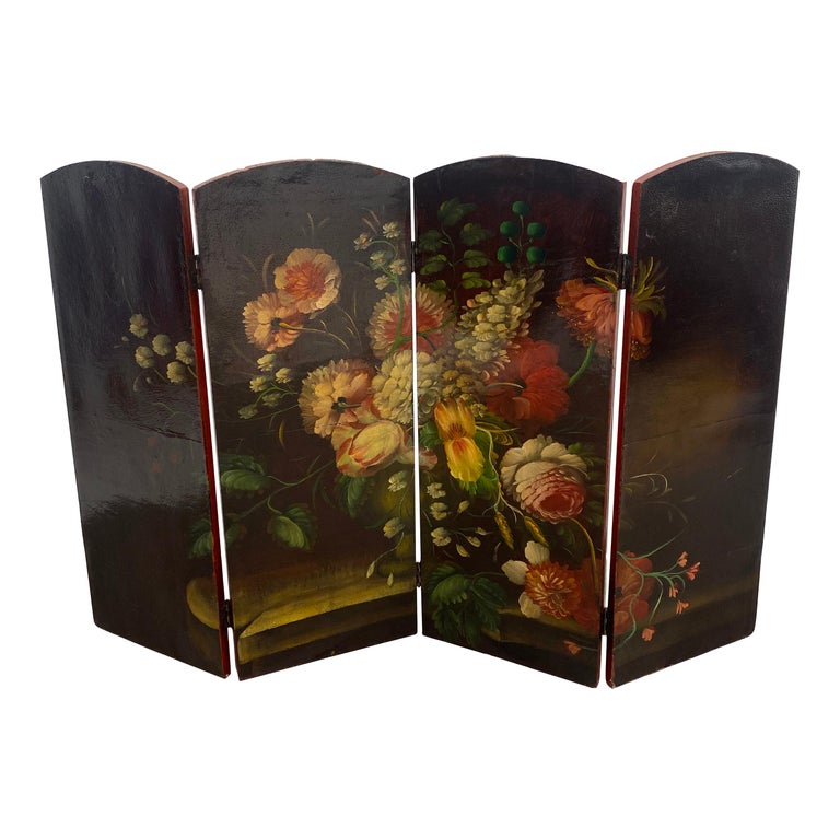 19th Century Italian Oil Painting on Four Panel Folding Screen For Sale