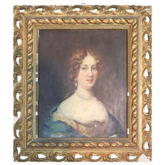 19th Century Italian Oil Painting on Wood table Portrait of a Young Lady
