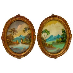 19th Century Italian Oval Hand Painted Landscapes Giltwood Frames