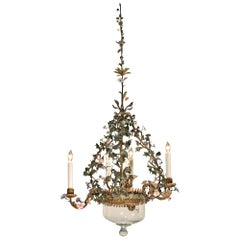 19th Century Italian Painted and Gilt Metal Chandelier