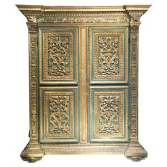 19th Century Italian Painted and Giltwood Wardrobe with Carved Decoration