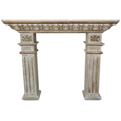 19th Century Italian Painted and Parcel Gilt Fireplace Mantel