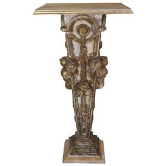 19th Century Italian Painted and Parcel-Gilt Pedestal Table