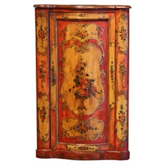 19th Century Italian Painted Bombe Corner Cabinet with Floral Motifs