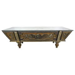 19th Century Italian Painted Coffee Table with Mirrored Top