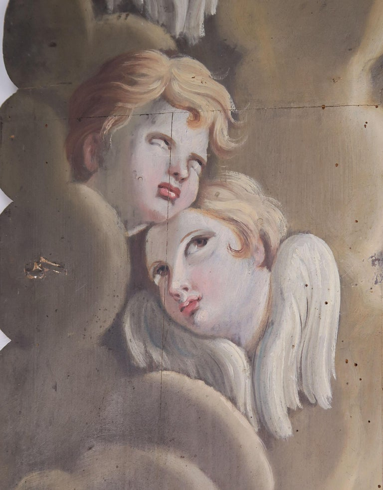 19th Century Italian Painted Frame with Cherubs For Sale 4