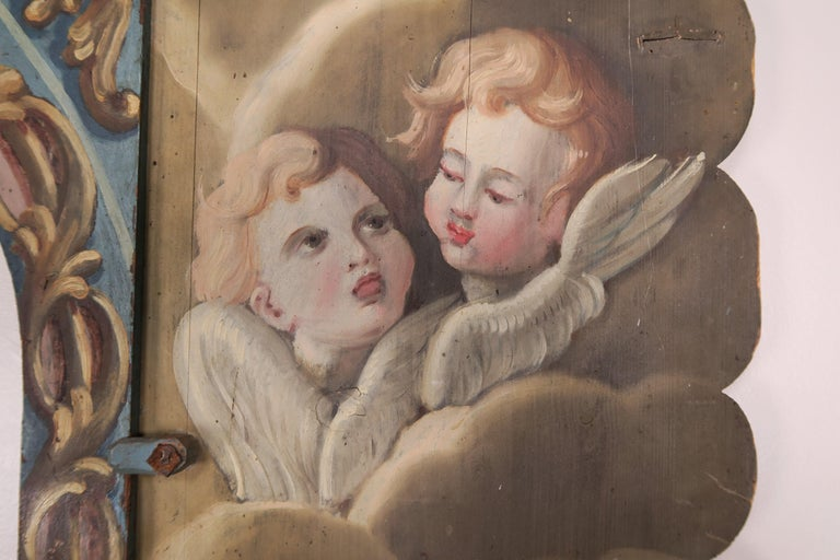 19th Century Italian Painted Frame with Cherubs For Sale 5