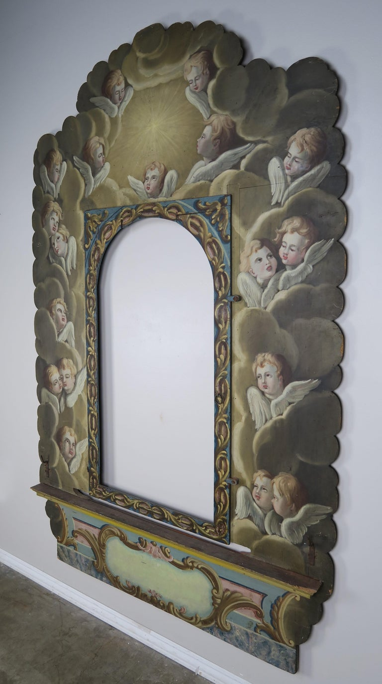 19th Century Italian Painted Frame with Cherubs For Sale 6