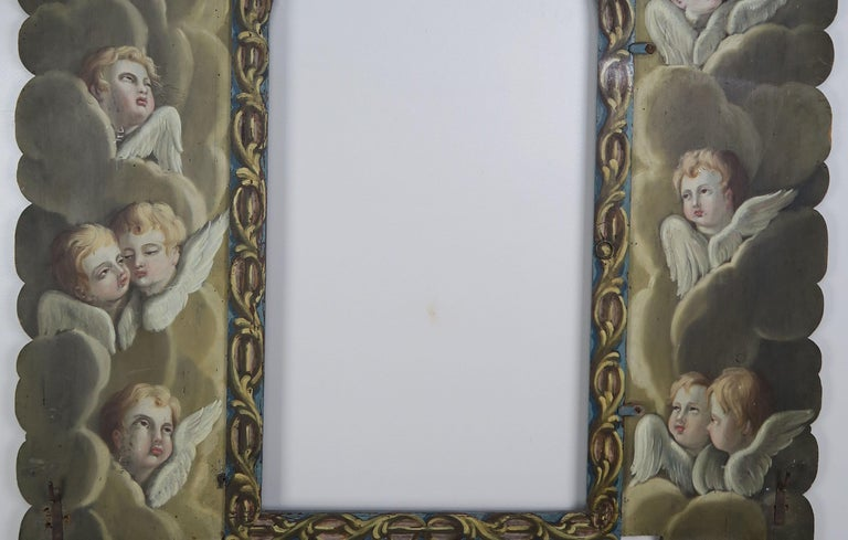 Renaissance 19th Century Italian Painted Frame with Cherubs For Sale