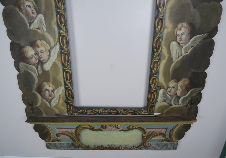 Hand-Painted 19th Century Italian Painted Frame with Cherubs For Sale