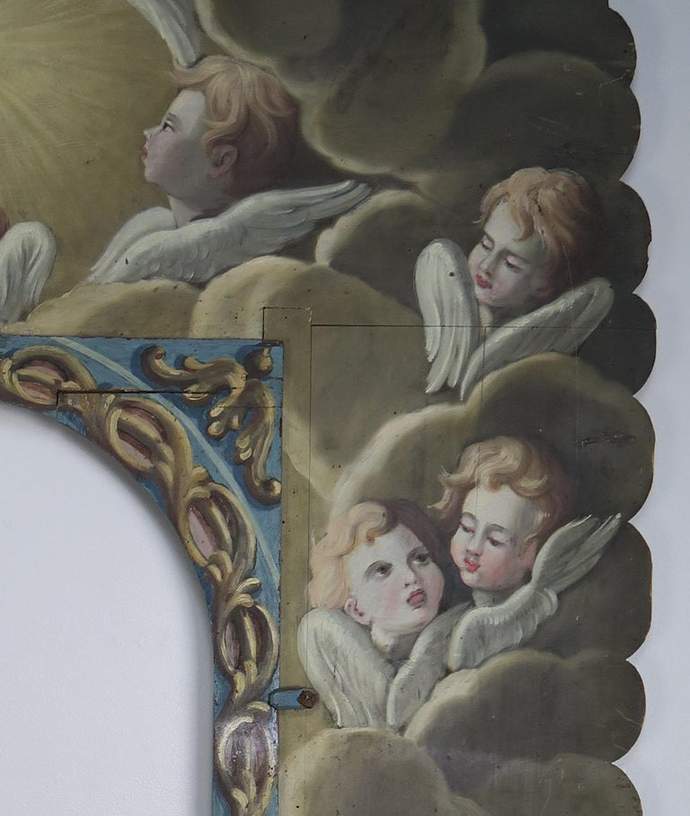 19th Century Italian Painted Frame with Cherubs In Distressed Condition For Sale In Los Angeles, CA