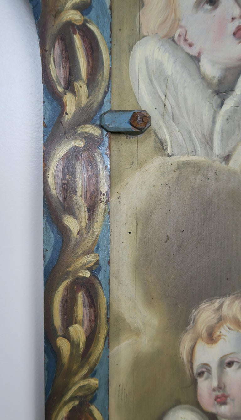 19th Century Italian Painted Frame with Cherubs For Sale 2
