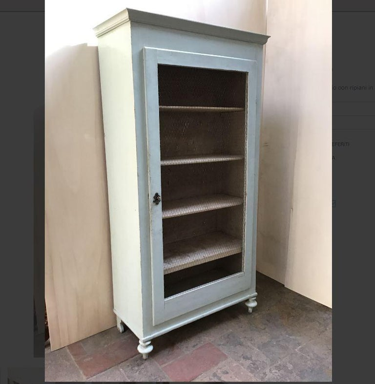 19th century Italian painted wood little wardrobe with shelves and metal mesh door.