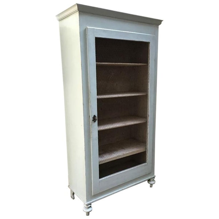 19th Century Italian Painted Wood Wardrobe with Shelves and Metal Mesh Door For Sale