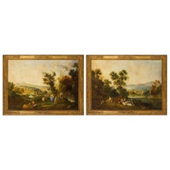 19th Century Italian Painter, Pair of Paintings with River Landscapes