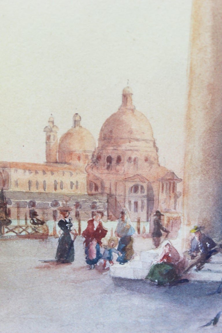 19th Century Italian painting Watercolor View of Venice St Mark Square Signed For Sale 4
