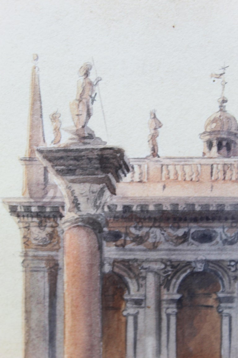 19th Century Italian painting Watercolor View of Venice St Mark Square Signed For Sale 5