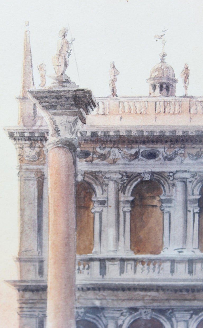 19th Century Italian painting Watercolor View of Venice St Mark Square Signed For Sale 6