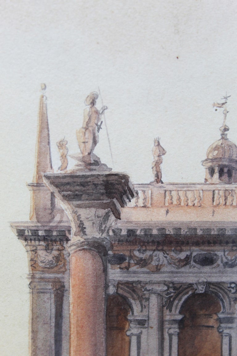 19th Century Italian painting Watercolor View of Venice St Mark Square Signed For Sale 8