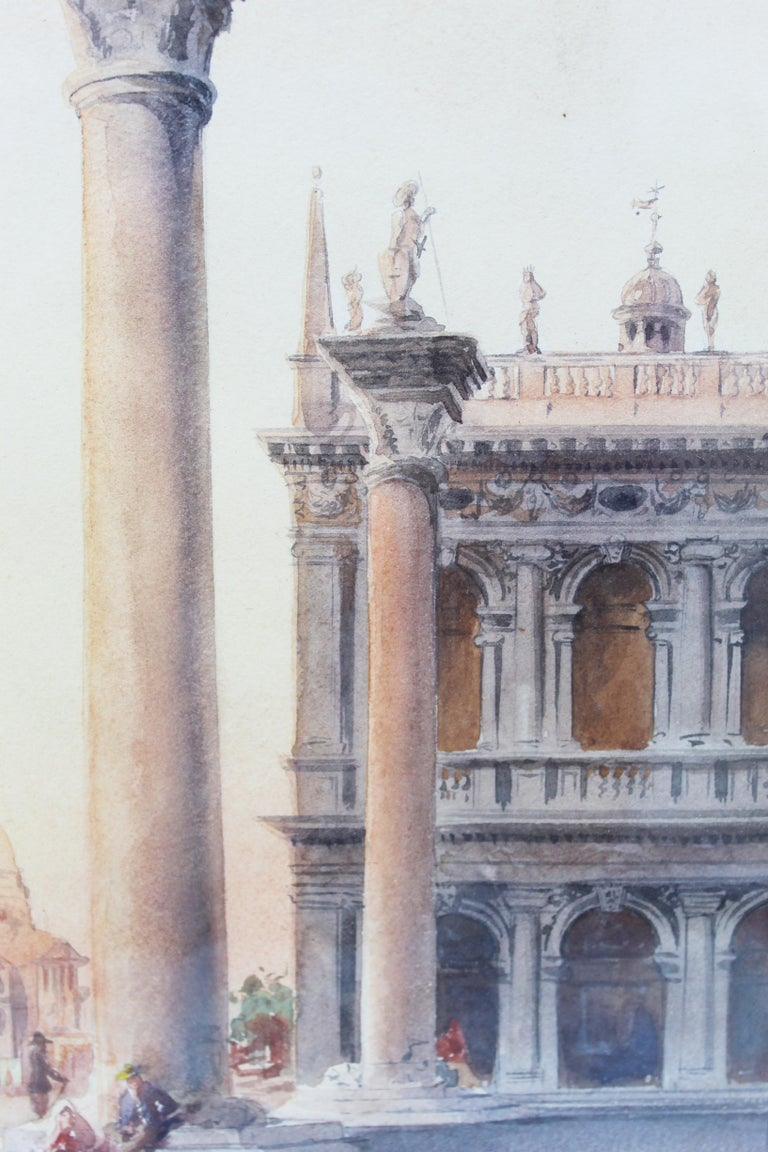 19th Century Italian painting Watercolor View of Venice St Mark Square Signed For Sale 9