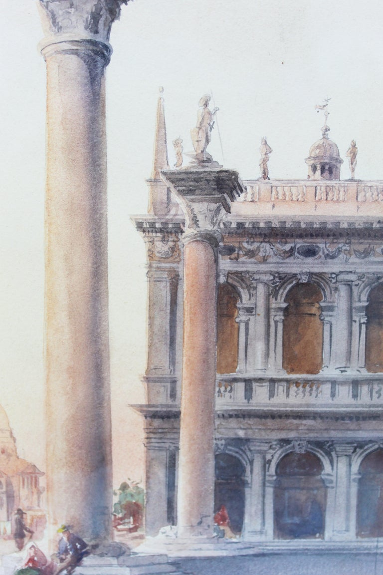 19th Century Italian painting Watercolor View of Venice St Mark Square Signed For Sale 10
