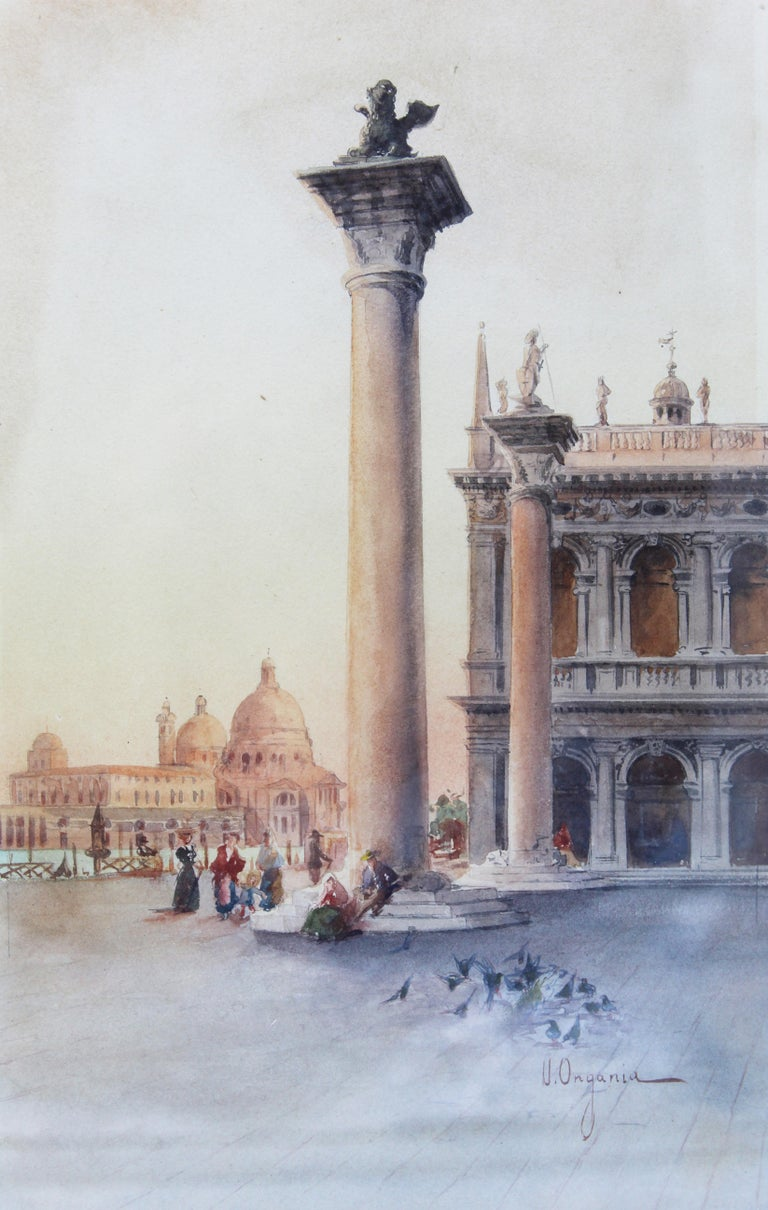 19th Century Italian painting Watercolor View of Venice St Mark Square Signed In Good Condition For Sale In Roma, IT