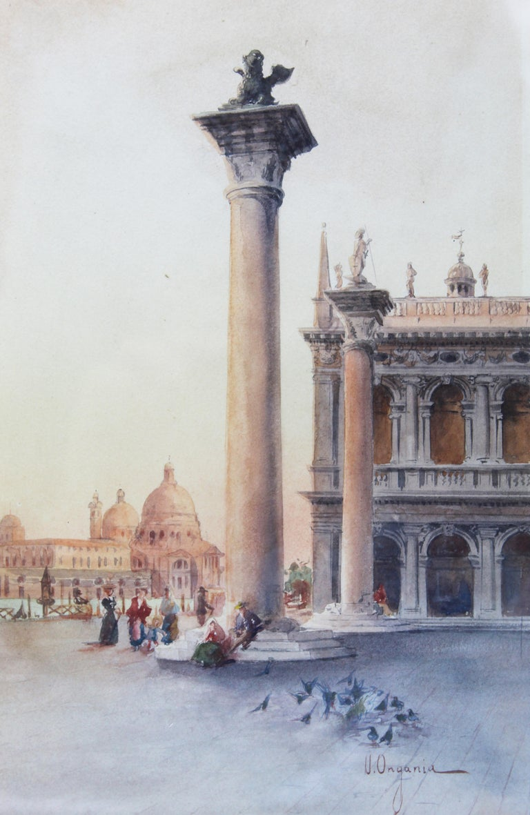 Paper 19th Century Italian painting Watercolor View of Venice St Mark Square Signed For Sale