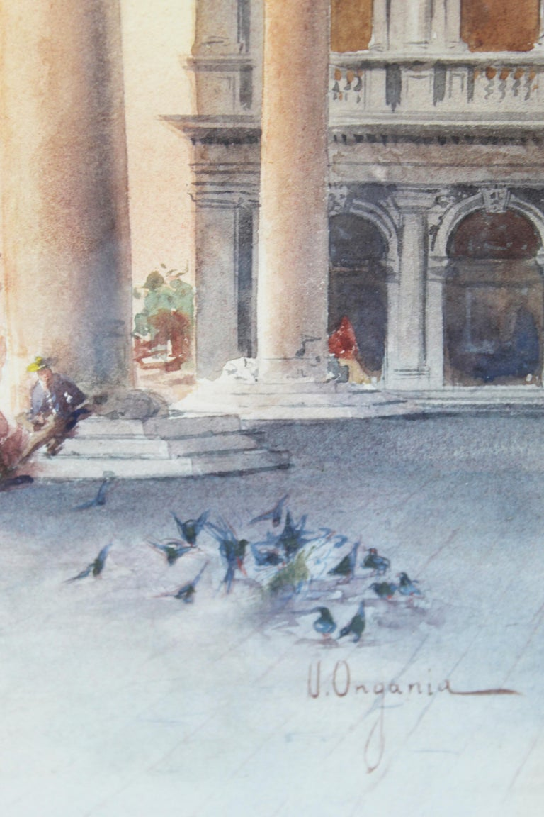 19th Century Italian painting Watercolor View of Venice St Mark Square Signed For Sale 1