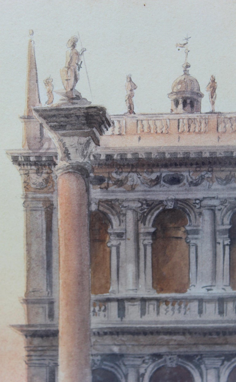 19th Century Italian painting Watercolor View of Venice St Mark Square Signed For Sale 2
