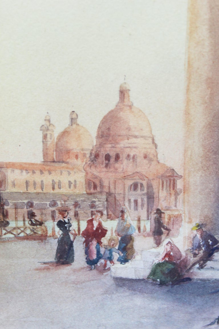 19th Century Italian painting Watercolor View of Venice St Mark Square Signed For Sale 3