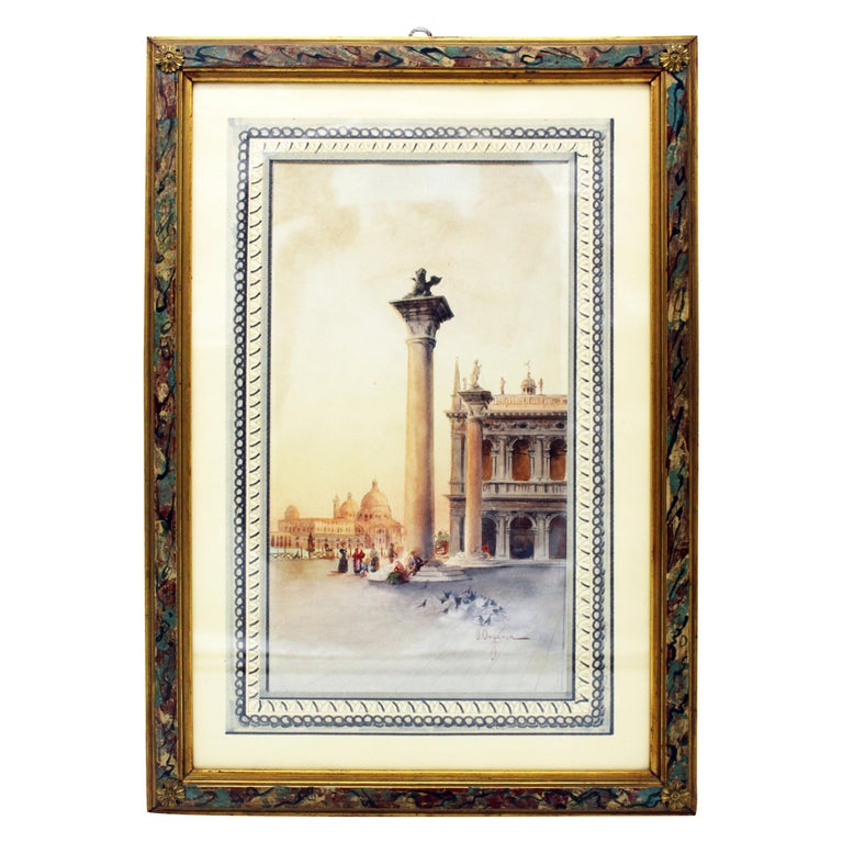 19th Century Italian painting Watercolor View of Venice St Mark Square Signed For Sale
