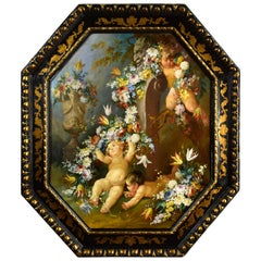 19th Century, Italian Painting with Still Life with Cherubs