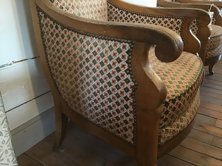 19th Century Italian Pair of Biedermeier Armchairs with Original Fabric, 1860s For Sale 1