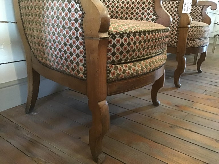 19th Century Italian Pair of Biedermeier Armchairs with Original Fabric, 1860s For Sale 2