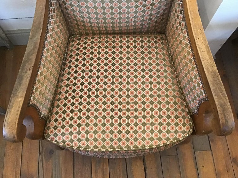 19th Century Italian Pair of Biedermeier Armchairs with Original Fabric, 1860s For Sale 4