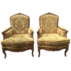 19th Century Italian Pair of Carved Wood Armchairs with Original Upholstery