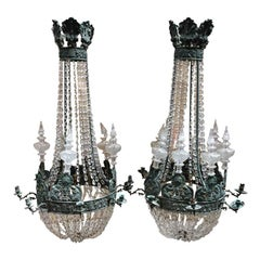 19th Century Italian Pair of Crystal and Bronze Ceiling Candleholder, 1890s