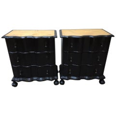 19th Century Italian Pair of Ebonized Wood Nightstands with Lacquered Top, 1890s