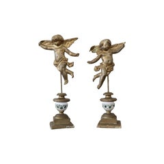 19th Century Italian Pair of Gilded Bronze Angels on a Wooden Base