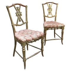 19th Century Italian Pair of Gilt Wooden Chairs with Original Upholstery, 1890s