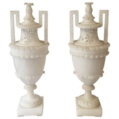 19th Century Italian Pair of Hand-Carved Neoclassical Alabaster Vases or Urns