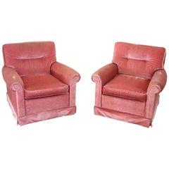 19th Century Italian Pair of Pink Velvet Armchairs, 1980s