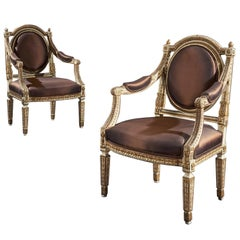 19th Century Italian Parcel Gilt Armchairs of Neoclassical Design