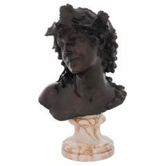 19th Century Italian Patinated Bronze of a Young Woman Signed by Silvio Sbricol