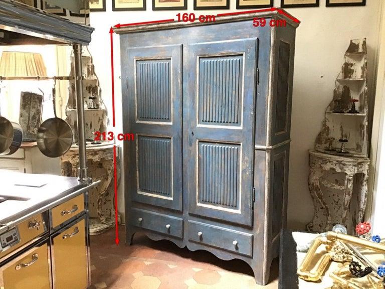 19th Century Italian Piedmontese Painted Wood Wardrobe, 1890s For Sale 5