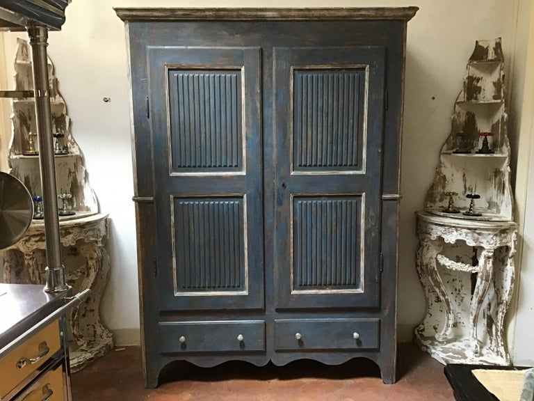 19th century Italian Piedmontese painted wood wardrobe with two shatters, 1890s.