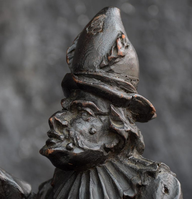 Hand-Carved 19th Century Italian Pulcinella 'Polichinelle' Wooden Figure For Sale