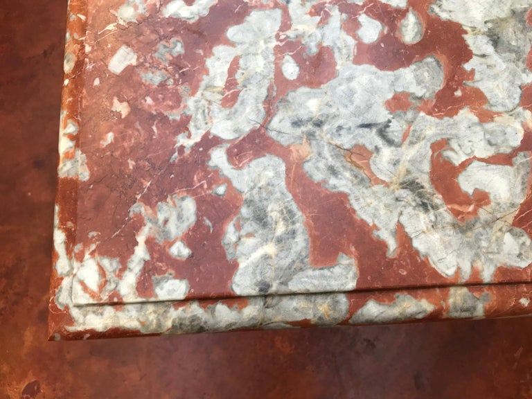 19th Century Italian Red Marble Top Dining Table with Limestone Bases For Sale 7