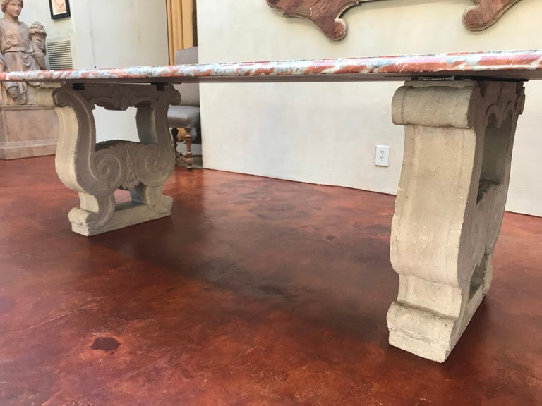 19th Century Italian Red Marble Top Dining Table with Limestone Bases In Good Condition For Sale In Nashville, TN