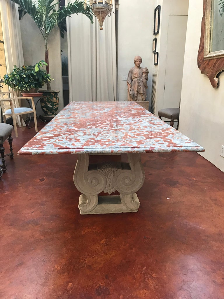 19th Century Italian Red Marble Top Dining Table with Limestone Bases For Sale 1